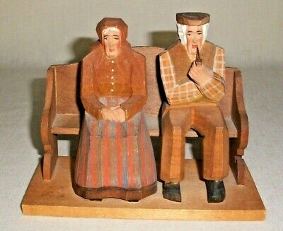 "Hand Carved Wood Old Man & Woman On Bench 5"" Folk Art Carving Swiss"