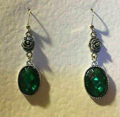 Victorian Style Emerald Green Acrylic Crystal Drk Silver Plated Rose Earrings Rs