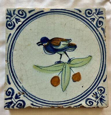 Dutch Delft tile with a polychrome bird - One of a kind