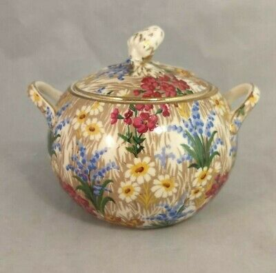 Royal Winton Grimwades Marguerite (Gold Trim) Elite Sugar Bowl with Lid