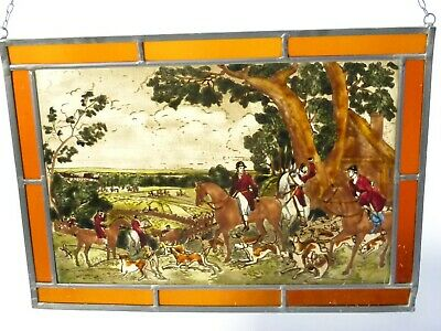 Vintage FOX HUNTING Scene Hand Painted Leaded Stained Glass Window Panel