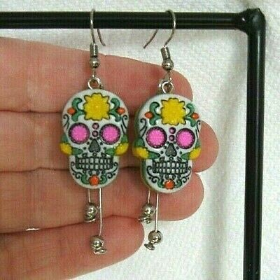 Yellow Sugar Skull Earrings - Day of the Dead - Halloween - Colorful & Unique