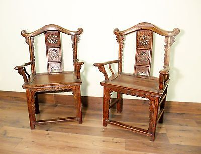 Antique Chinese Arm Chairs High Back (5606) (Pair), Circa 1800-1849