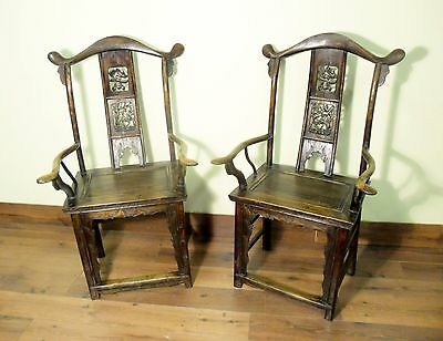 Antique Chinese High Back Arm Chairs (5802) (Pair), Circa 1800-1849