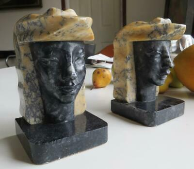 Antique Pair of Art Deco B&W Marble Carved Heads Bookends Tamara Lempicka