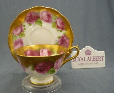 Royal Albert England Bone China OLD ENGLISH ROSE Heavy Gold Tea Cup & Saucer Duo