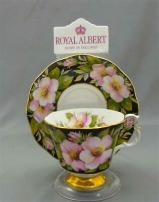 Royal Albert England Black ALBERTA ROSE Provincial Flowers Bone Tea Cup & Saucer