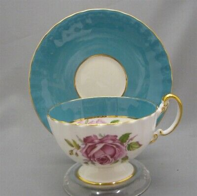 Aynsley England Bone China Hand Painted Pink Rose Blue Footed Tea Cup & Saucer