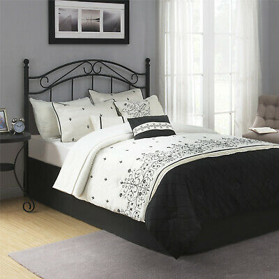 Mainstays Full Queen Metal Headboard Black Traditional Styling Durable Home Kit