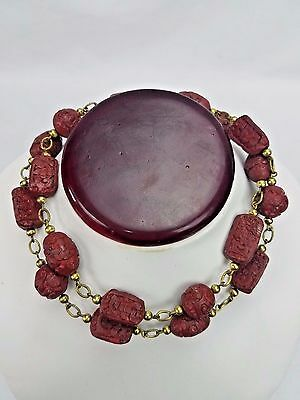 Antique Cinnabar Chinese Asian Lacquer Red Hand Carved Beaded Necklace