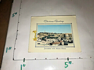 Holy Land Flowers in Vintage Christmas Card from Jerusalem Jordan Mousa Ansari