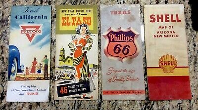 Vintage Road Maps Conoco, Shell, Phillips 66