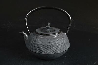 U7182: Japan Iron Arare pattern TEA KETTLE Teapot Tetsubin Unused Tea Ceremony