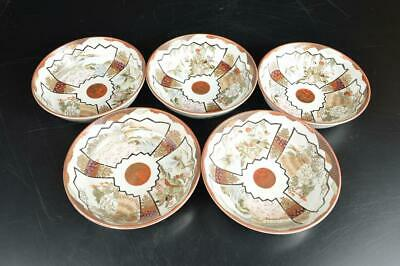 U7261: Japanese Old Kutani-ware Colored porcelain BOWL/dish/Cooking pot 5pcs