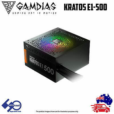 500 Watt 80 Plus Computer ARGB Power Supply PC PSU Sync MB Gamdias Kratos E1