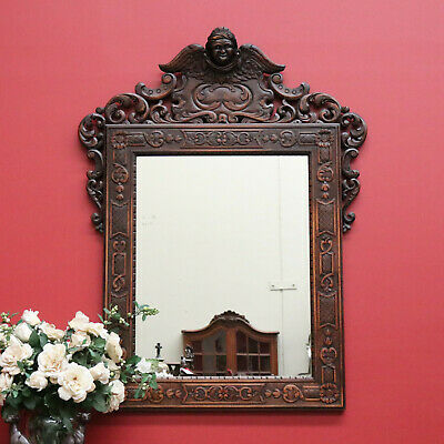Antique Mirror, Italian, Oak, Heavily Carved Frame Surround Cherub to Crown