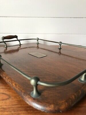 Vintage Wooden And Metal Serving Tray With Rails