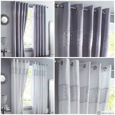 Shimmer - GLAMOROUS Ready Made LINED Curtains SEQUIN HEADING EYELET Ring Top