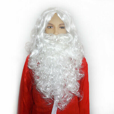 Santa Claus Wig Beard White Fancy Dress Costume Cospaly Set for Christmas Party