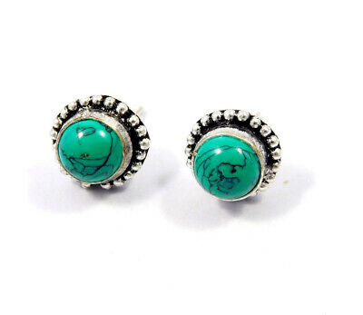 Turquoise .925 Silver Plated Handmade Stud Earring Jewelry JC8101