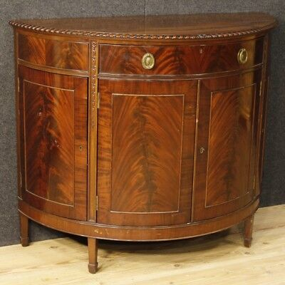 Sideboard demilune commode English furniture wood mahogany 4 doors 1 drawer 900