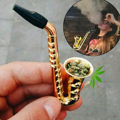 Saxophone Shape Mini Portable Smoking Pipes Metal Pipe Gold Smoking Accessories