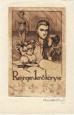 Exlibris Bookplate Etching Tamas Banszky 1892-1971 Female Act Mann