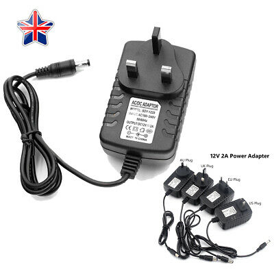 AC DC 12V 2A Power Supply Charger Adapter For Camera LED Strip Light UK Plug 1x