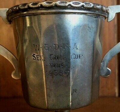 1936 Worcester Football vintage silver plate trophy, loving cup, trophies
