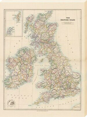 Canvas Print Stanfords Folio British Isles Map (1884) 60x80cm