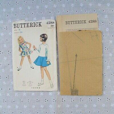 Vintage Butterick Pattern 4288 in Child's Size 6 One Piece Dress Complete Unused