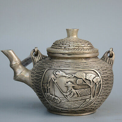 Collectable China Old Miao Silver Hand-Carved Fisherman &Tree Delicate Tea Pot