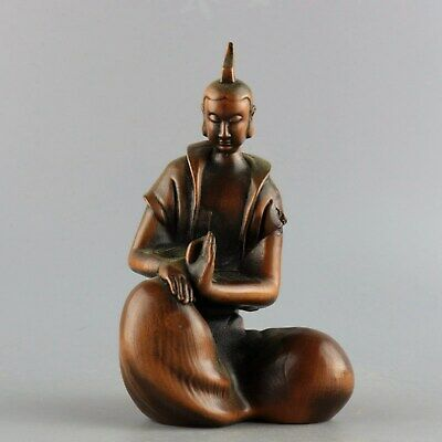 Collectable Handwork China Old Boxwood Carve Pray Monk Delicate Buddhism Statue