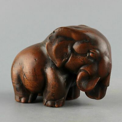 Collect China Old Boxwood Hand-Carved Lovely Elephant Vivid Interesting Statue