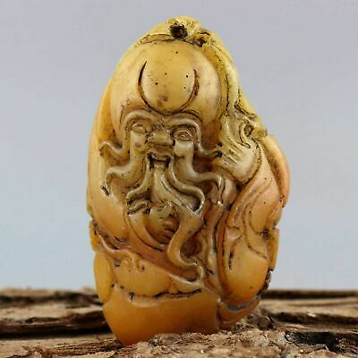 Collectable China Old Shoushan Stone Carved Immortal Moral Bring Health Pendant
