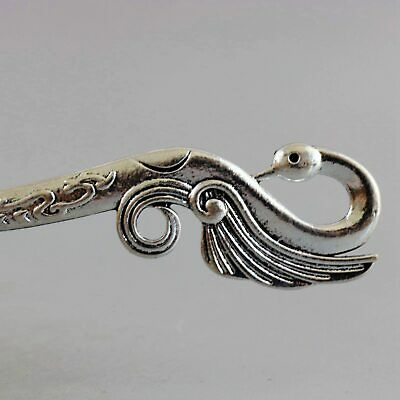 Collect China Old Miao Silver Hand-Carved Lifelike Swan Delicate Decor Hairpin