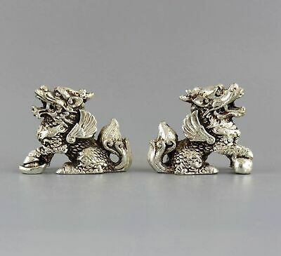 Collect Handwork Old Tibet Silver Carved Pair Myth Kylin Exorcism Decor Statue