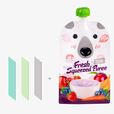 Colorful Resealable Squeeze Food Pouch Storage Bag  DIY Baby Food Reusable