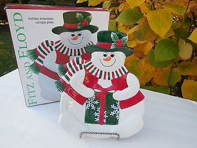 Fitz and Floyd Holiday Snowman Canape Christmas Plate Snacks Treats Appetizers