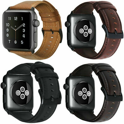 Retro Genuine Leather iWatch Band Casual Strap For Apple Watch 5 38 40 42 44mm