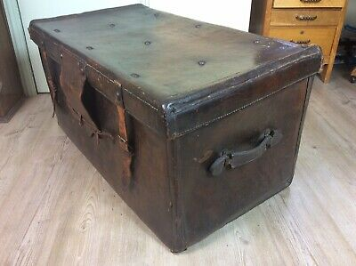 Antique Leather Steamer Trunk / Travel Chest / Coffee Table, Superb Patination.