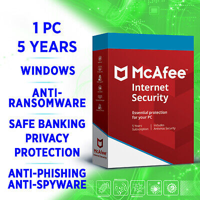 McAfee Internet Security 1 PC 5 years 2019 2020 / Windows