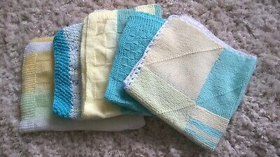 5 x hand knitted baby pram blankets - used