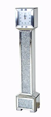 Tall Square Mirrored Crushed Silver Diamante Jewel Crystal Gem Grandmother Clock