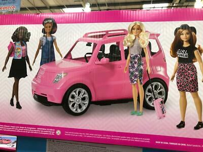Barbie Girls Road Trip SUV Jeep Pink Car And 4 Barbie Dolls New
