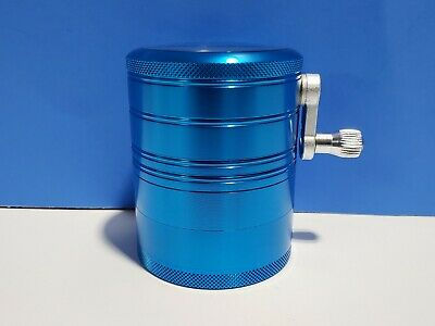 Hand Crank Herb Mill Crusher Tobacco Smoke Grinder 2.5 inch 4 layer Aluminum