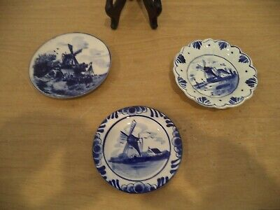 """Three Small Hand Painted Delft Plates WINDMILLS WATER SCENE ABOUT 4"""" EACH"""