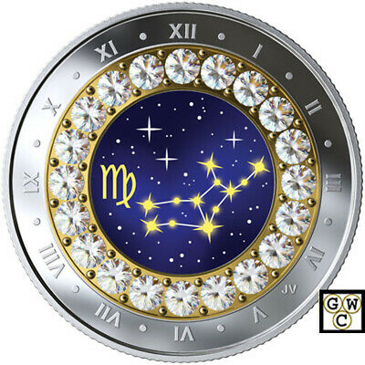 2019 Virgo -Zodiac Series' Crystalized Proof $5 Silver Coin .9999 Fine (18794)NT