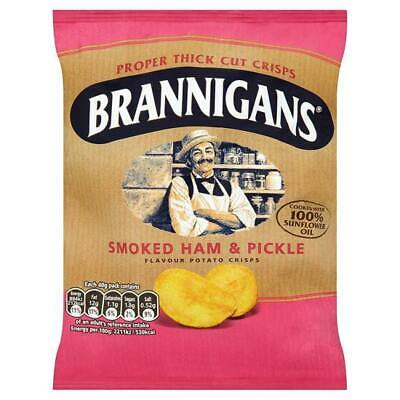 Brannigans Smoked Ham & Pickle Flavour Potato Crisps Full Box of 18 x 40g