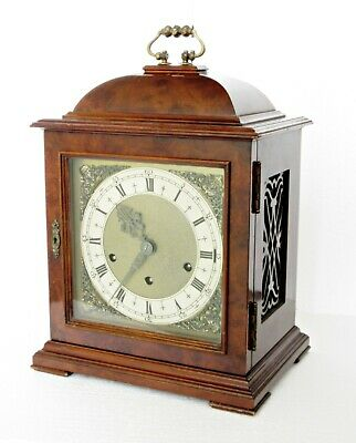 "Quality Large Westminster Striking Mantel Clock, Walnut Case 14.5"", Working Well"